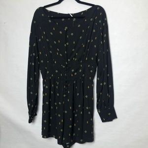 Free People romper medallion print button front